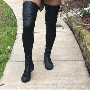 Chanel, black leather thigh high boots, size 8.5